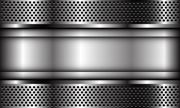 Abstrakte silberne plattenfahne auf metallkreis-netzmusterdesign moderner luxusfuturistischer industrieller hintergrund.