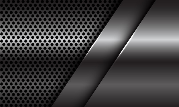 Abstrakte silberne plattenüberlappung auf moderner futuristischer hintergrundillustration des kreisnetzdesigns.