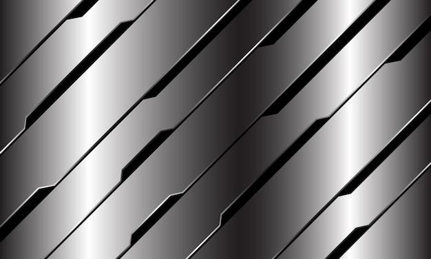 Abstrakte silberne schwarze linie schaltung cyber geometrischen schrägstrich design modernen luxus futuristischen technologie hintergrund