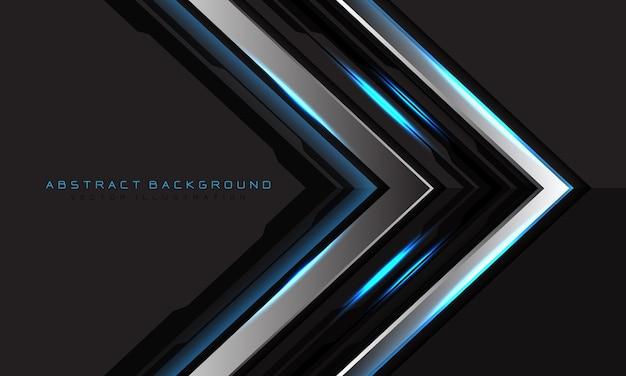 Abstrakte silberne schwarze schaltungsrichtung des blauen lichtpfeils auf grauem leerraum