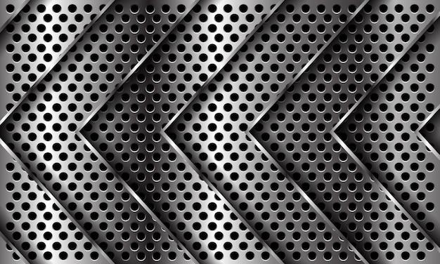 Abstrakte silberpfeilmusterrichtung auf dem modernen futuristischen luxushintergrund des kreisnetzdesigns.