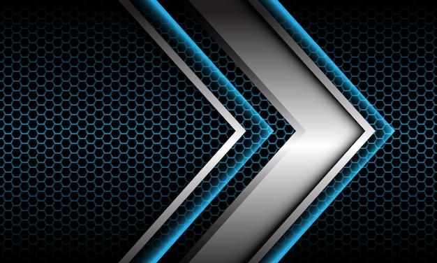 Abstrakte silberpfeilschattenmetallische richtung geometrisch auf modernem futuristischem hintergrund des blauen sechsecknetzes