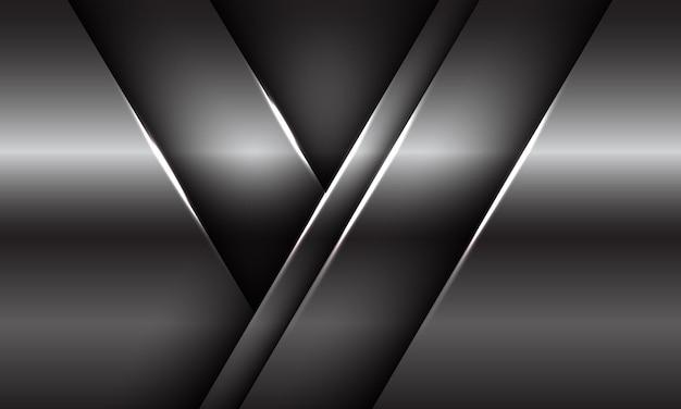 Abstrakte silberplatte glänzende metallische schattenüberlappung dreieck geometrisches design moderne luxus futuristische hintergrund textur illustration.