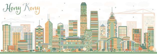 Abstrakte skyline von hongkong mit farbgebäuden. vektor-illustration. geschäftsreise- und tourismuskonzept mit moderner architektur. bild für präsentationsbanner-plakat und website.