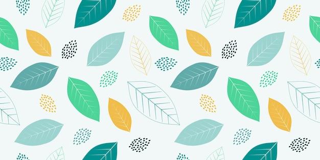 Abstrakte sommer- und frühlingsblätter nahtloses muster