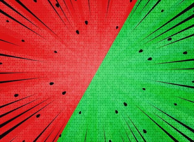 Abstrakte sonne sprengte roten und grünen hintergrund der kontrastwassermelone.