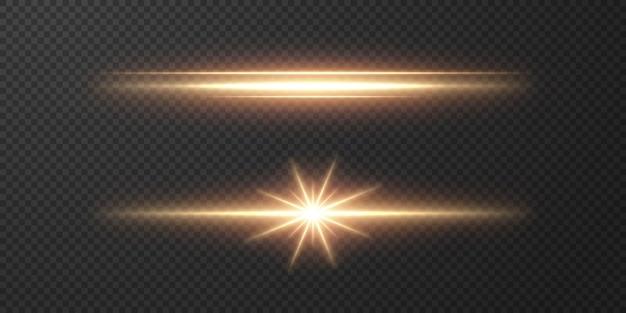 Abstrakte sonnenlichtstrahlen. heller lichtstreifen auf einem transparenten hintergrund.