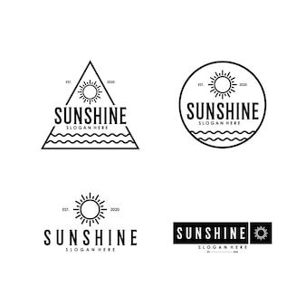 Abstrakte sonnenscheinlinie kunst einfache vintage logo design vorlage premium
