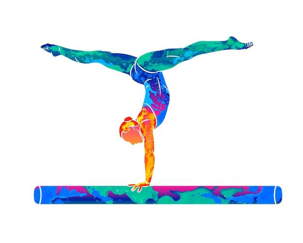 Abstrakte sportlerin, die einen komplizierten aufregenden trick auf gymnastik-ausgleichsstrahl vom spritzen von aquarellen tut. illustration von farben
