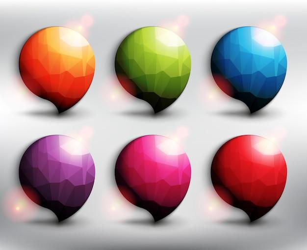 Abstrakte sprechblasen im niedrigen poly-stil, satz von 6. wolkenikonen. bubble ballons zitat. auf dem weißen hintergrund isoliert.