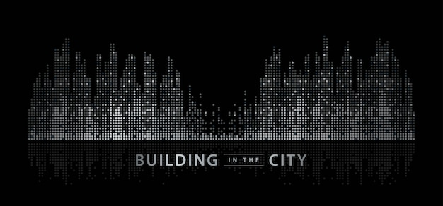 Abstrakte stadt, equalizer-hintergrund. transparente stadtlandschaft, dots building