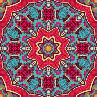 Abstrakte stammes-mandala ethnische nahtlose muster ornamental. geometrischer doodle-hintergrund