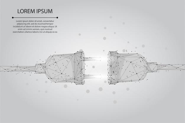 Abstrakte steckdose und punktsteckdose mit stecker. polygonales verbindungs- und trennungskonzept. low poly illustration