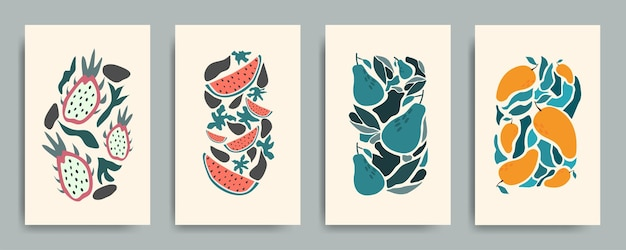 Abstrakte stilllebenfruchtelemente in pastellfarbenplakaten.