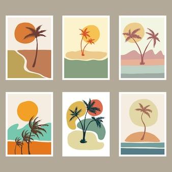 Abstrakte strandlandschaftsabdeckungsillustration