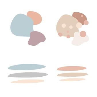 Abstrakte streifen und punkte - beige dekor. moderne pastellfarben. poster, boho-wanddekor, flaches design. vektor-illustration