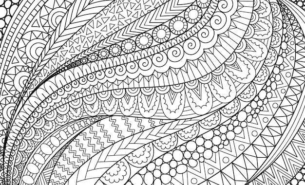 Abstrakte strichzeichnungen für hintergrund, malbuch für erwachsene, illustration für malvorlagen
