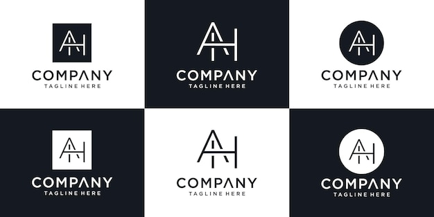 Abstrakte symbole für buchstabe ah ah symbol logo-design-vorlage