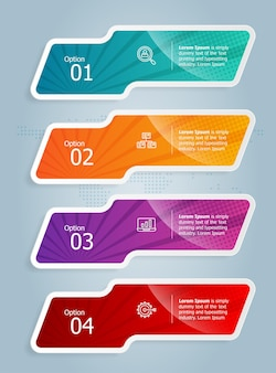 Abstrakte tab bar vertikale infografik präsentationselement vorlage mit business icon 4 option vector illustration background
