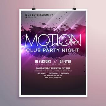 Abstrakte tanzmusik-party-flyer vorlage mit tinte spritzen