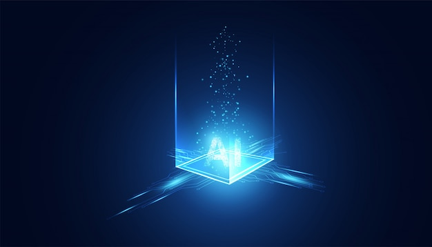 Abstrakte technologie ai sci-fi-konzeptmaschine für künstliche intelligenz