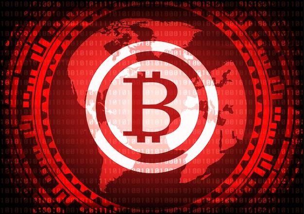 Abstrakte technologie bitcoins logo auf binär code.