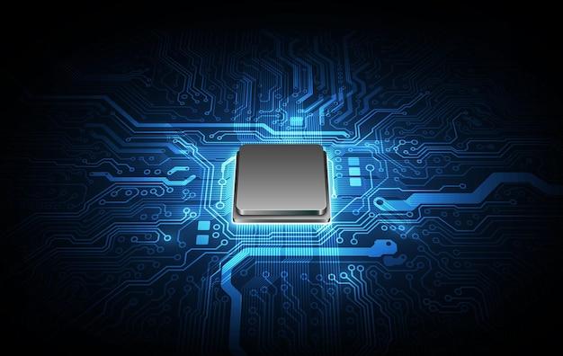 Abstrakte technologie-chip-prozessor-hintergrund-platine und html-code, 3d-illustration blauer technologie-hintergrund-vektor.