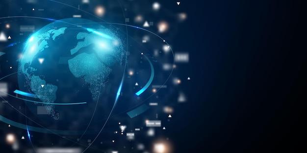 Abstrakte technologie. globales weltnetzwerk und telekommunikation