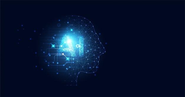 Abstrakte technologie künstliche intelligenz big data digital human