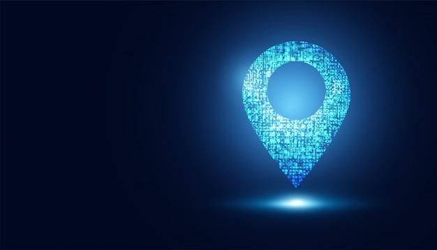 Abstrakte technologie map pin low poly futuristisch leuchtendes gps