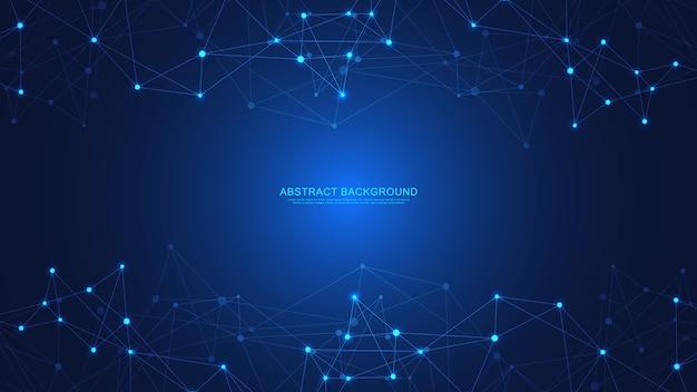 Abstrakte technologie mit verbindungspunkten und linien. digitale technologie der globalen netzwerkverbindung und kommunikation.