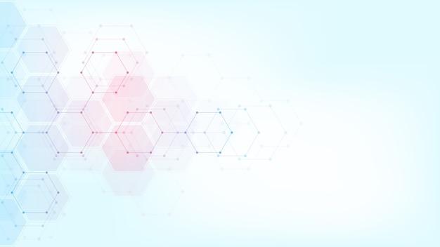 Abstrakte technologie oder medizinischer hintergrund mit sechseckformmuster. konzepte und ideen für gesundheitstechnologie, innovationsmedizin, gesundheit, wissenschaft und forschung.