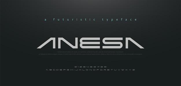 Abstrakte technologie raumschrift und alphabet.