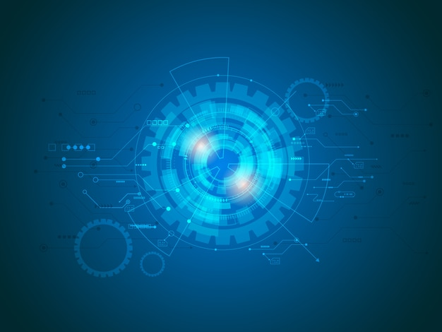 Abstrakte technologie-schaltungen im blauen hintergrund