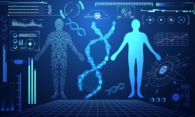 Abstrakte technologie ui futuristisches konzept hud menschliches schnittstellenhologramm