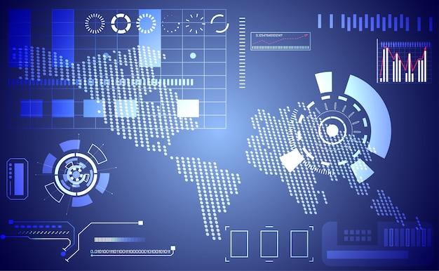 Abstrakte technologie ui futuristisches konzept karte punkt