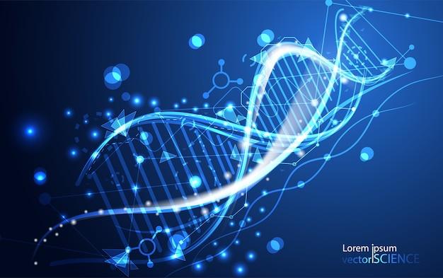 Abstrakte technologie wissenschaft dna futuristisch auf high-tech-blauem hintergrund