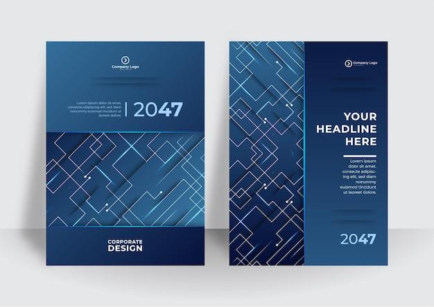 Abstrakte technologieabdeckung mit leiterplatte. designkonzept für high-tech-broschüren. satz futuristisches geschäftslayout. dunkelblauer moderner tech-hintergrund