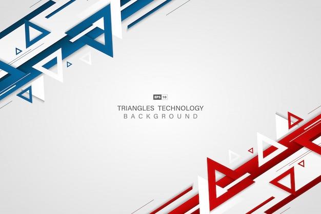 Abstrakte technologiefarbe des blauen rotes des dreieckhintergrundes