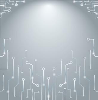 Abstrakte technologiezeilen und raumhintergrund
