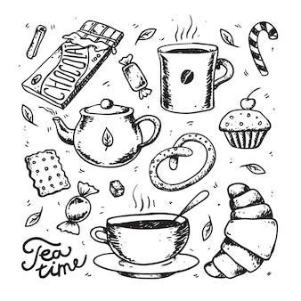 Abstrakte tee- und kaffeezeit-vektorsammlung. wüste, kuchen, süßigkeiten, kekse und teetasse