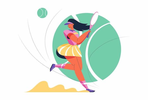 Abstrakte tennissportlerin mit schläger und ball in zeichentrickfigur