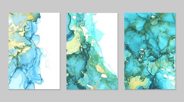 Abstrakte texturen aus blaugrünem und goldenem marmor