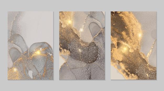 Abstrakte texturen aus grauem und goldenem marmor