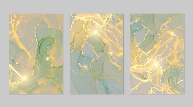 Abstrakte texturen aus grünem und goldenem marmor