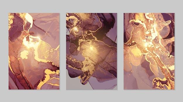 Abstrakte texturen aus lila und goldenem marmor