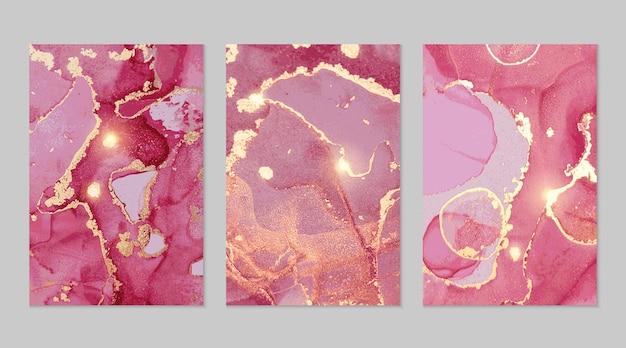 Abstrakte texturen aus magenta und goldmarmor