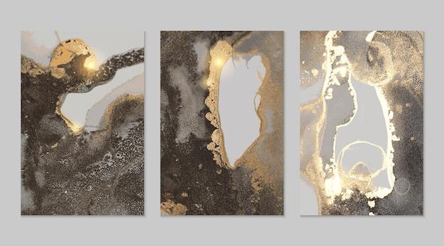 Abstrakte texturen aus schwarzem und goldenem marmor