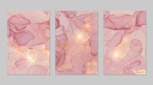 Abstrakte texturen des hellrosa und des goldmarmors