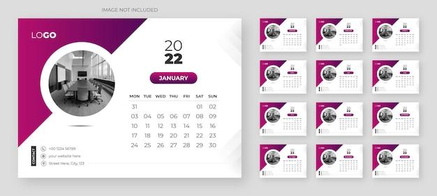 Abstrakte tischkalendervorlage für das neue jahr 2022